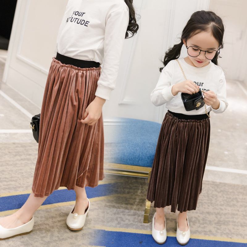 YDA3110hottest girl dress solid color pleated kid skirt