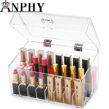 ANHPY C211-1 Wholesale Lipstick Nail Polish Cosmetic organizer PS Makeup Storage Case With Lid And Grids