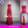 CN305 Real Picture Sweetheart Neckline See Through Skirt Sheath Red Heavy Beaded Evening Dress