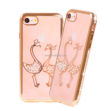 Luxury Crystal Sparkle Diamond-shaped Design Flexible TPU Protective Case Slim for Apple Iphone 7 7 Plus 4.7 Inch 5.5 Inch