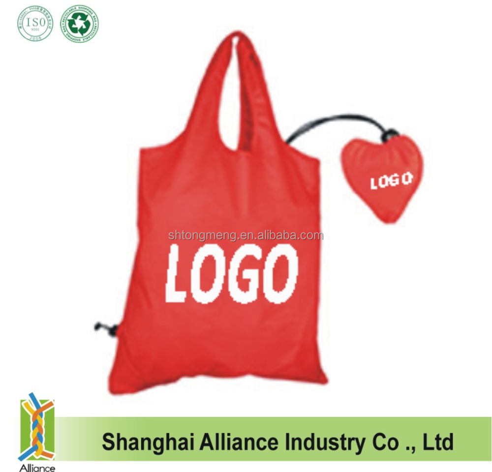 High Quality Heart Shaped Foldable Promotional Compact Nylon Reusable Shopping Bag