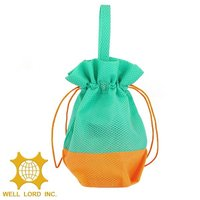 Promotional small light green woven drawstring gift practical bag cosmetic
