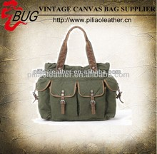 2014 Popular Washed Olive Canvas Handbag/Tote Bag/Canvas Bag With Muti-Pockets