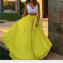 2017 Women Boho Maxi Long Skirts Pleated Floor-Length Chiffon Summer Beachwear Ladies Elegant Jupe Skirt