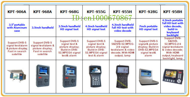 KPT-955G+ Top-Selling DVB-S Digital Satellite Finder Signal Meter TV Antenna Sat Finder Satellite Dishes