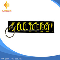 top quality cheap custom woven key chain designer embroidery keychain