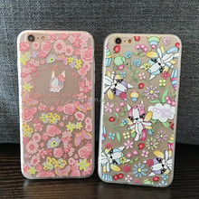 Beautiful flowers designs mobile phone accessories Flexible tpu pattern phone case cover for iphone 6 6s