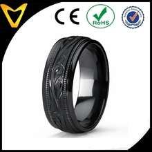Men's Hand Engraved Floral Black Plated Titanium Wedding Band Engagement Ring