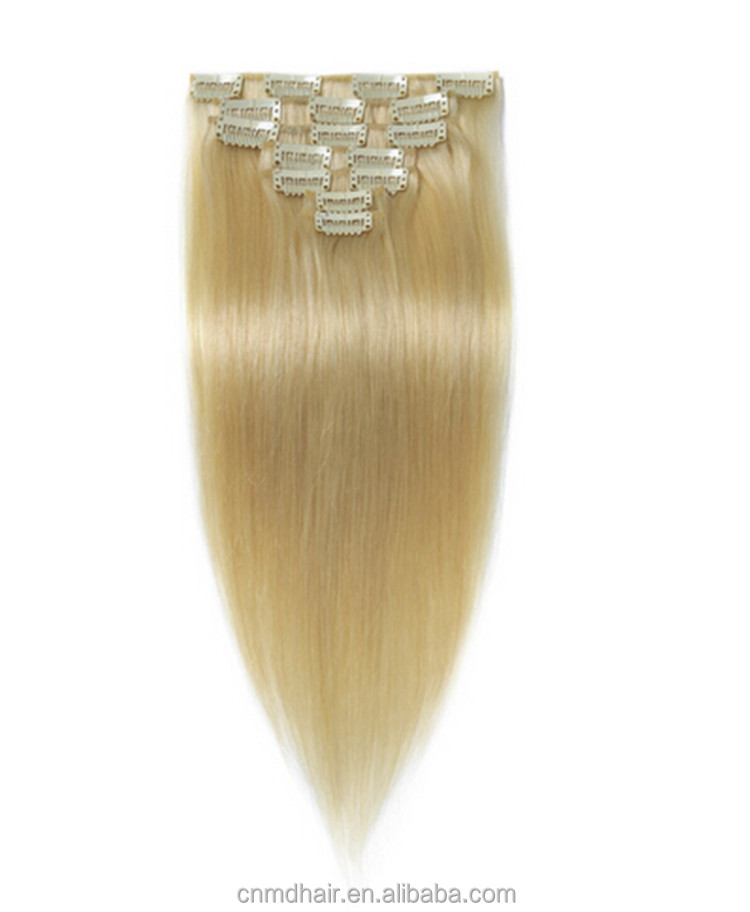 20 inch straight Platinum Blonde 60 color 10Pcs Full Head Clip Inremy Human Hair Extensions