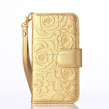 Luxury golden piriting leather filp case for samsung s6