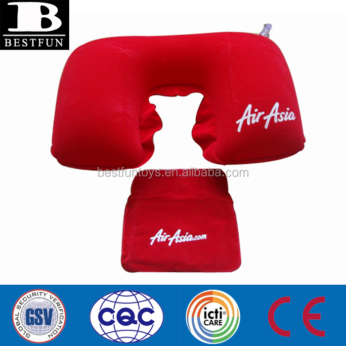 promotional cheap U SHAPE neck pillows flocking pvc inflatable neck rest pillows foldable travel pocket head pillows airplane pi