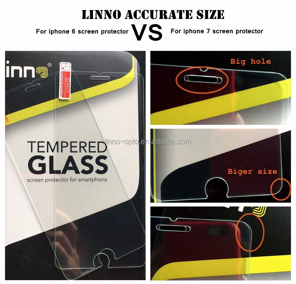 LINNO brand new premium 9H Tempered Glass screen protector for iphone 7