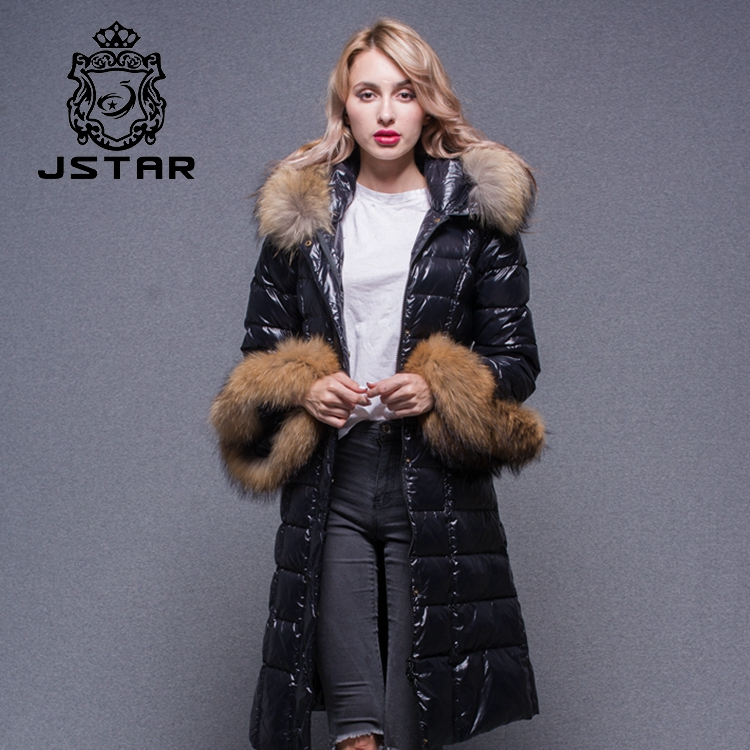 Wholesale High Quality Coats Raccoon Fur Collar And Cuff Black Long Down Coat