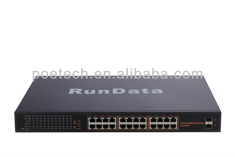 400W power supply IEEE802.af standard 24 ports 100Mbps poe network switch