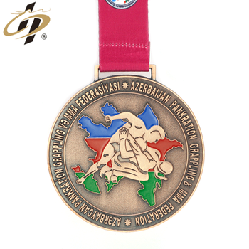 Custom 3D own design metal bronze judo sports medal