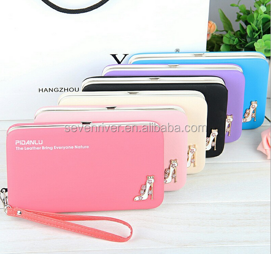 Fashion Customized PU Hinge Purse/Women Metal Frame Wallet