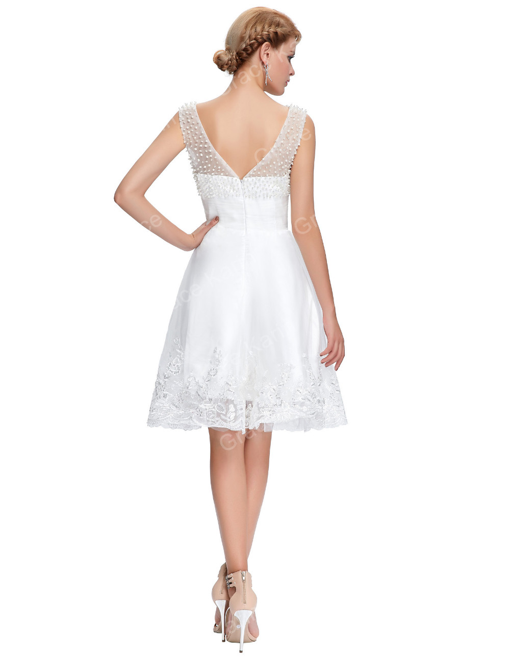 Grace Karin Sleeveless Crew Neck V back Tulle Netting White Short Prom Dress GK000083-1