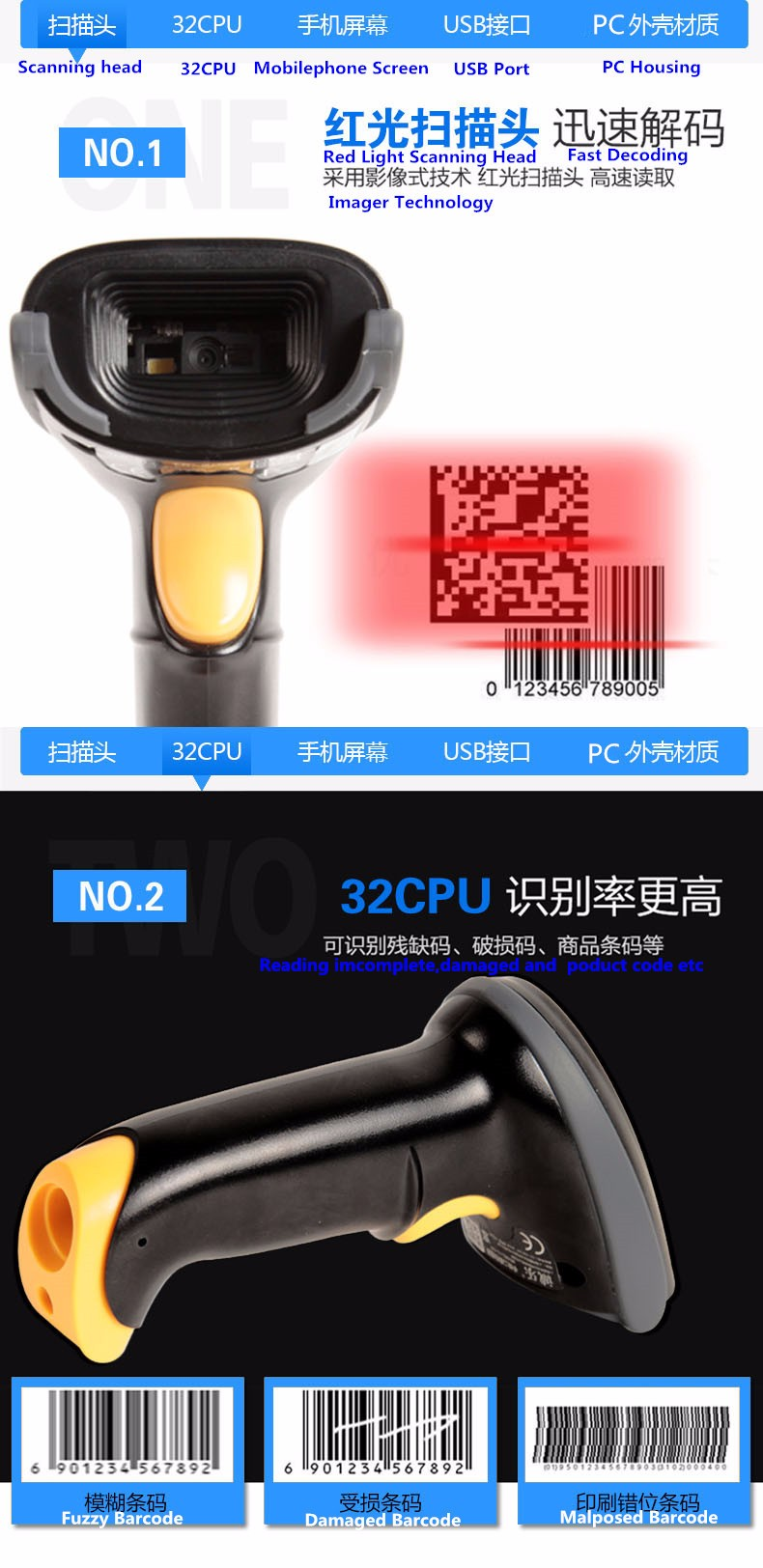 SuperLead 2200 high cost-effective POS QR Code Scanner USB RS232 Manufacturer 2D barcode scanner High quality