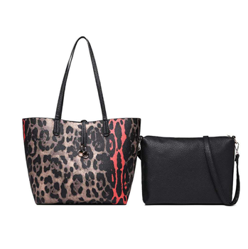 2 in 1 set Leopard Print Leather Tote Office lady women HandBags/ 2 Pieces Set Fashion Shoulder Bags for Women,Model F1940