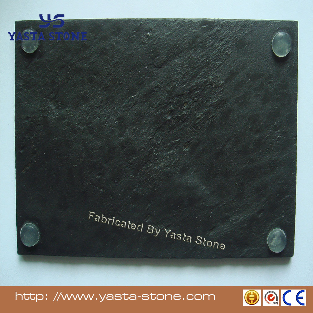 Modern design slate tray with silicone feet black color