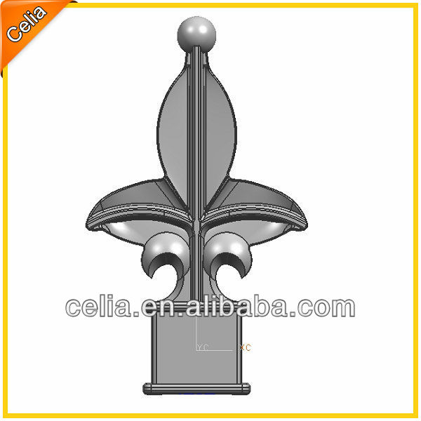 Metal aluminum spear point,Press fit gate spearhead,black finials for gate posts