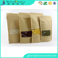 Zip lock kraft paper bag with window for food candy packaging