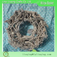 Factory wholesale Christmas decorative round grey cotton root garden wreath ornament