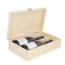 2017 new designed birch plywood 2 bottle hinged wooden wine box