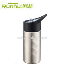promotional 500ML single wall stainless steel water bottle with sipper straw cap RH402-500