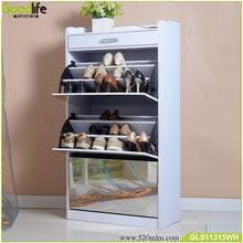 High quality luxury modern wooden mirror shoe cabinet