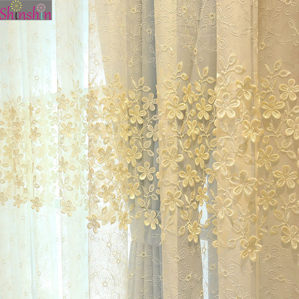 Embroidery romantic flower embossed lace curtain