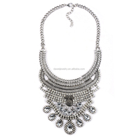 new design women bib statement black acrylic crystal chunky necklace accessary