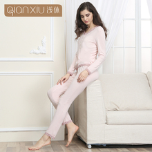 High Quality Qianxiu Long Sleeves Pink Cotton Modal Lightweight Women Pyjamas
