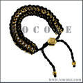 Gold Stainless Steel Metal Clasps Articulated String Woven Leather Bracelet