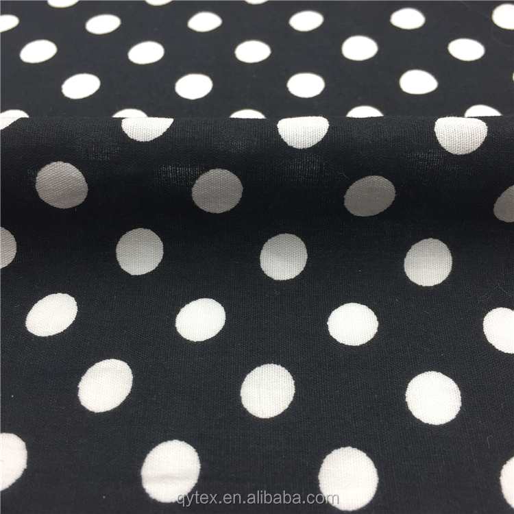 Plain Woven Spots Printed White and Black Polka Dot 100%Cotton Poplin Fabric for Summer Dress,Shirt