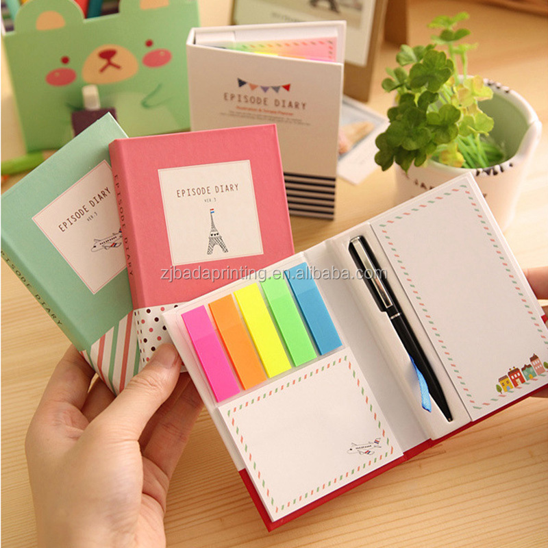 Notebook With Sticky Notes/Kawaii Stationery Diary Notebook Office School Supplies With Pen