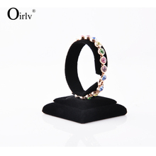 Oirlv Manufacture Customize Black Velvet Jewelry Watches Bracelet Bangle Display Holder for Retail Shop Counter Exhibiting