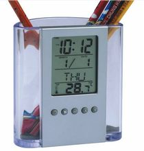Promotional Digital calendar clock thermometer with pen holder