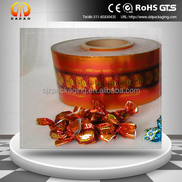 19mic printed metallized pet twist film for candy wraper