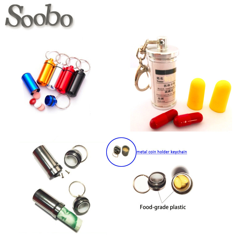 2016 high quality travel aluminum waterproof pill holder keychain