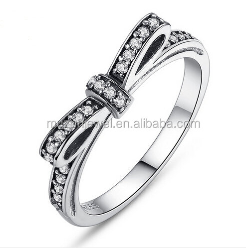 Classical 925 sterling silver bow band ring