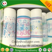 Plastic backed film for baby diaper and sanitary napkins