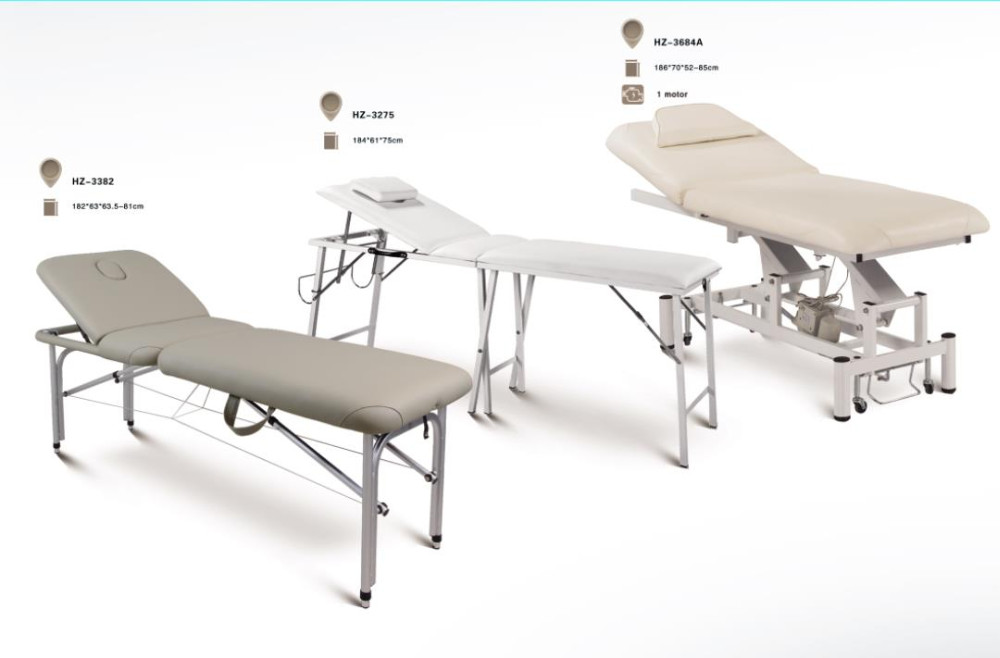 Modern Portable White Leather Motorized Massage Table
