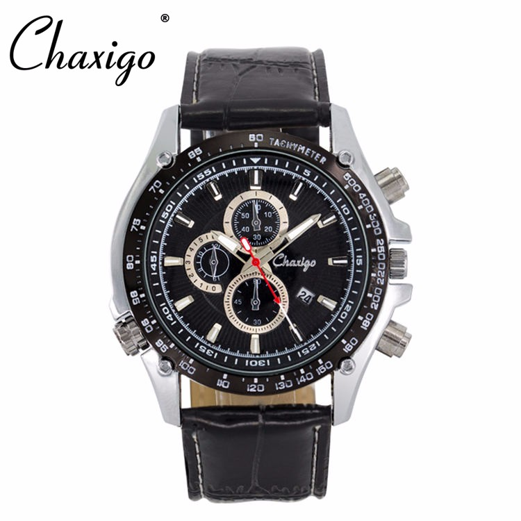 Chaxigo factory wholesale sport leather three eyes fashion design men chronograph watch