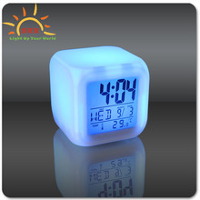 Glowing led color change digital alarm clock/Funny alarm clocks/Pretty alarm clock