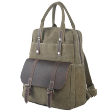 New style canvas briefcase portfolio laptop bags crazy horse leather laptop backpack bags for business man handcrafted