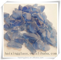Frosted glass block for decorative materials-blue