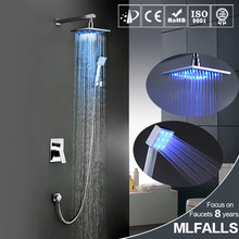 Newly Wall Mounted LED 3 Colors Changing Shower Faucet Set 8 Inch Brass Shower Head W/ Brass Hand Shower Mixer Tap