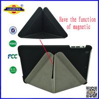 for ipad mini triangle pattern stand leather case and hard Hybrid case back Laudtec