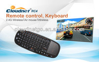 Cloudnetgo selling 2.4g mini fly air gyro mouse wireless keyboard with 70keys design 15M OD for android smart TV home use